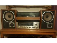 Vintage 1975 Garrard turntable with Sansui 221 Stereo Reciever and original Hi Fi Speakers