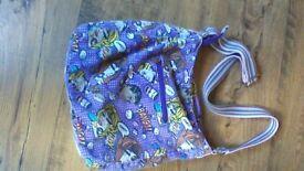 Bag Anna Smith New York,comic strip theme,colour purple,zip fastening,fabric material,ex condition.