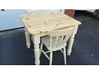 ANTIQUE PINE FARMHOUSE TABLE & 2 CHAIRS DINING KITCHEN SHABBY SHIC