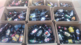 Collection of empty beer bottles
