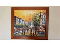 Stunning original oil painting Paris Eiffel Tower France amber skyline cityscape