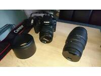 Dslr canon 500d camera with 2 lenses and case