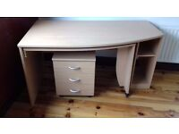 Desk 2 in 1 with shelves and free style draws on wheels. In VERY good order.