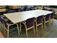 Large boardroom table and 12 chairs with foldaway tables