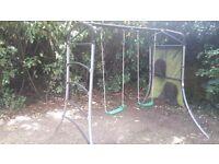 Metal Garden Swing set. 2 swings and climbing bars.