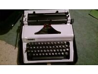 Erika manual typewriter, in carry case