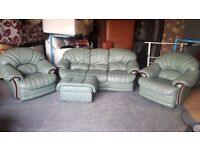 Green leather 3 seater sofa, 2 armchairs and footstool