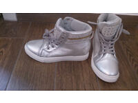 new silver heeled trainers size 6