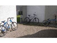 3 Bikes for sale one in new condition 2 mountain bikes plenty of life left in them .