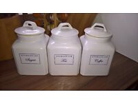 Set of 3 Tea, Coffee & Sugar Storage Jars