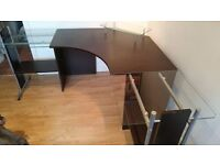 Office Desk in Great condition; dark wood finish with glass shelving
