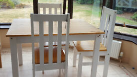 Used Seconique Ludlow Dining Set in Oak & White & 4 Matching Chairs - not later than friday 27/7/18