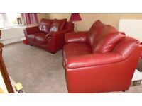 Red Italian leather 3 piece suite, Contemporary red leather suite, 2 x 2 seaters and single chair
