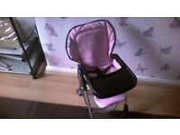 Silver cross stroller and matching dolls high chair