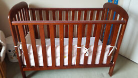 Cot and mattress - adjustable height for 6 months to 2.5 years
