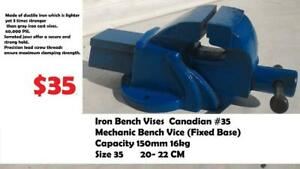 Iron Bench Vises Canadian #35  Mechanic Bench Vice (Fixed Base) capacity 150mm,16kg,packing size 35 *20*22CM