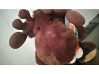 Chris Moose - Lovely Cuddly Brown Moose Stuffed Toy With Xmas Scarf