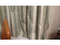2 pairs green and cram striped curtains plus pelmet and tie backs