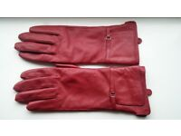 Soft supple ladies womens fleece lined quality red real sheep leather fitted gloves