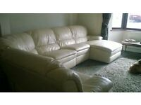 large real leather corner sofa with recliners and chaise
