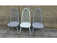 X3 Ercol Windsor Quaker Chairs ideal for repainting
