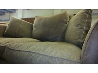 Fabric and Suede Two Seater Sofa - Brown