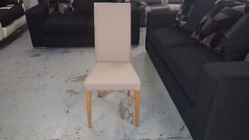 One NEW John Lewis Lydia Italian Leather Effect Dining Chair Taupe Collect Oakwood DE21