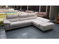 Ex-display Guest silver suede fabric corner chaise sofa