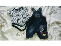 Boys Mickey mouse dungarees set nwot 3-6 months