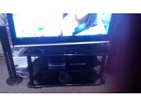 BLACK GLASS TV STAND MODERN