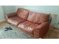 **FREE** Leather Sofa & Chair Orange/Tan - fair condition. Collection only