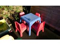 Childs' table and chairs