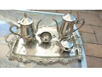 Silver Plated Tea / Coffee Set With Serving Tray