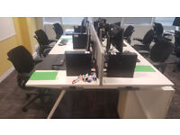 Senator Bench Desking, White MFC Tops, Cable Management Flap & Tray + Screens