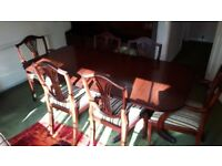 Solid Wood Dining Table claw pedestal feet 6 spade leg chairs carvers vintage project shabby chic