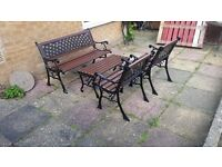 ANTIQUE RARE 4 PIECE CAST IRON GARDEN TABLE AND CHAIRS RECENTLY REFURBISHED
