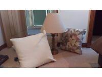 Like new lamp and 3 cushions (debenhams dfs)