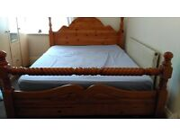 King size pine bed and side drawers for sale!
