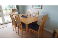 Beech extendable dining table and 6 chairs, excellent condition