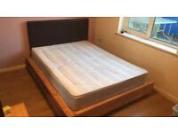 Complete bed set with double mattress, solid pine bed base and faux leather headboard