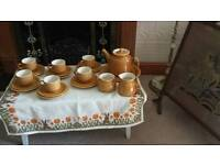 Vintage 22 piece Willsgrove Ware Pottery tea set made in Africa
