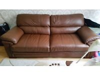 2 x 3 seater leather sofas, real genuine leather, only 3 years old, CSL/Sofology