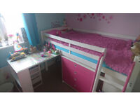 Cabin Bed Midsleeper Sleepstation with Chest of Drawers, Cabinet and Desk plus mattress