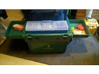 fishing seat box with trays bag tackle boxes 3-4 old vintage rods