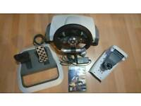Xbox 360 force feedback steering wheel and pedals