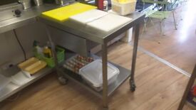 Mobile Commercial Mobile Stainless Steel Prep Table on Wheels