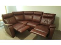 FURNITURE VILLAGE BROWNISH RED RECLINER CORNER SOFA - MUST GO TODAY TODAY - CHEAP DELIVERY - £350