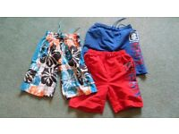 3 Pairs of Boys Swimshorts Age 6 - 7