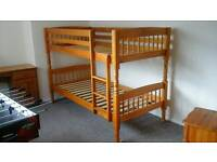 Solid wooden pine bunk beds, desk and drawers