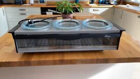 Hostess Table Top Food/Plate Warmer/Buffet Server 3 x Pyrex Dishes